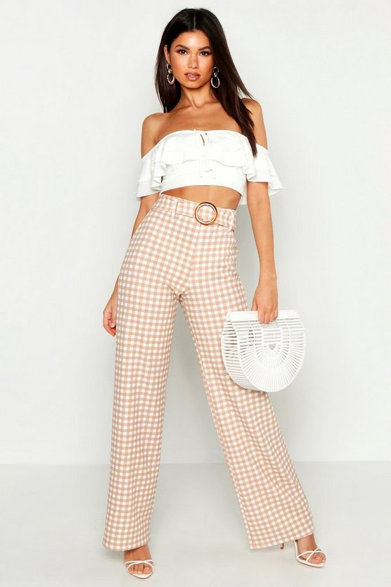 Womens Nude Tonal Gingham Check Horn Buckle Wide Leg