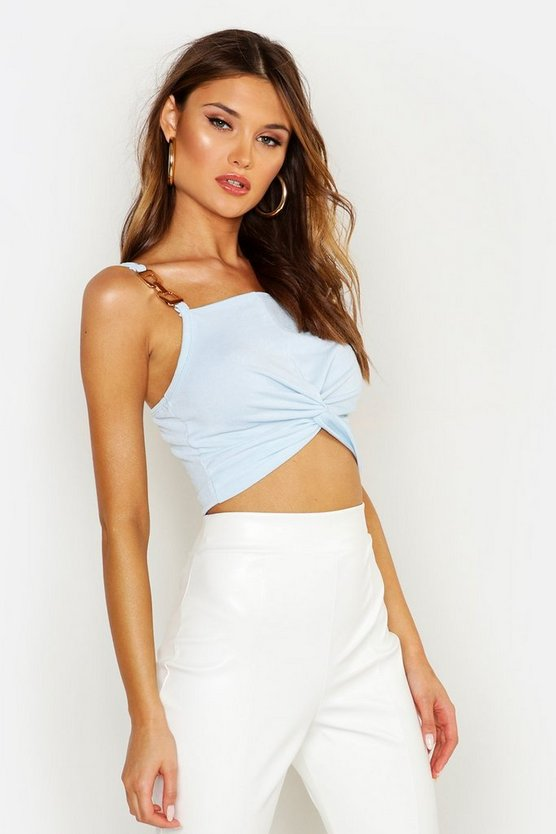 Womens Sky Twist Front Crop Top With Metal Detail Straps