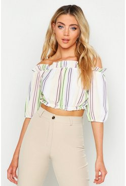 Womens Multi Pastel Stripe Bardot Gypsy Top