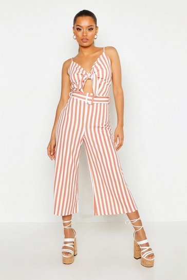Womens Rose Tonal Stripe Belted Knot Front Culotte