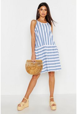 Womens Blue Linen Stripe Smock Dress
