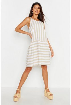 Womens Stone Linen Stripe Smock Dress