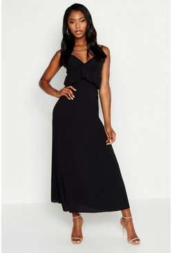 Womens Black Strappy Frill Detail Maxi Dress