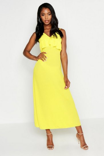 Womens Yellow Strappy Frill Detail Maxi Dress