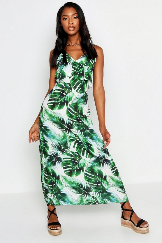 Womens White Strappy Frill Detail Palm Print Maxi Dress