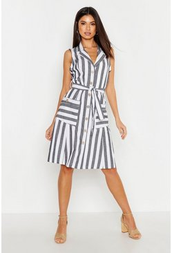 Womens Blue Linen Stripe Pocket Button Through Midi Dress