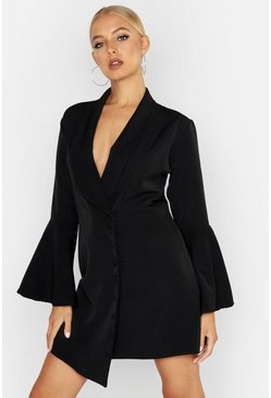 Womens Black Flared Sleeve Button Front Blazer Dress