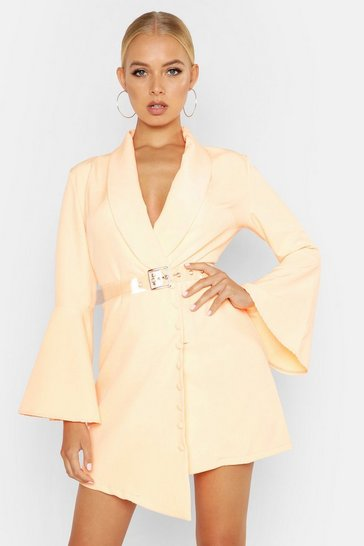 Womens Orange Flared Sleeve Button Front Blazer Dress