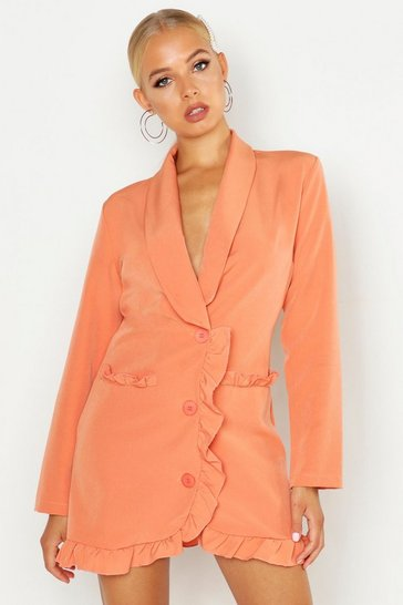 Womens Coral Frill Trim Blazer Dress