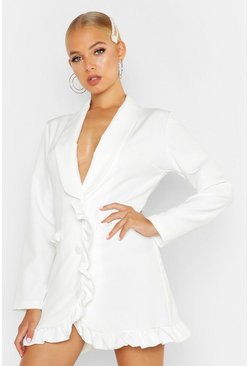 Womens White Frill Trim Blazer Dress