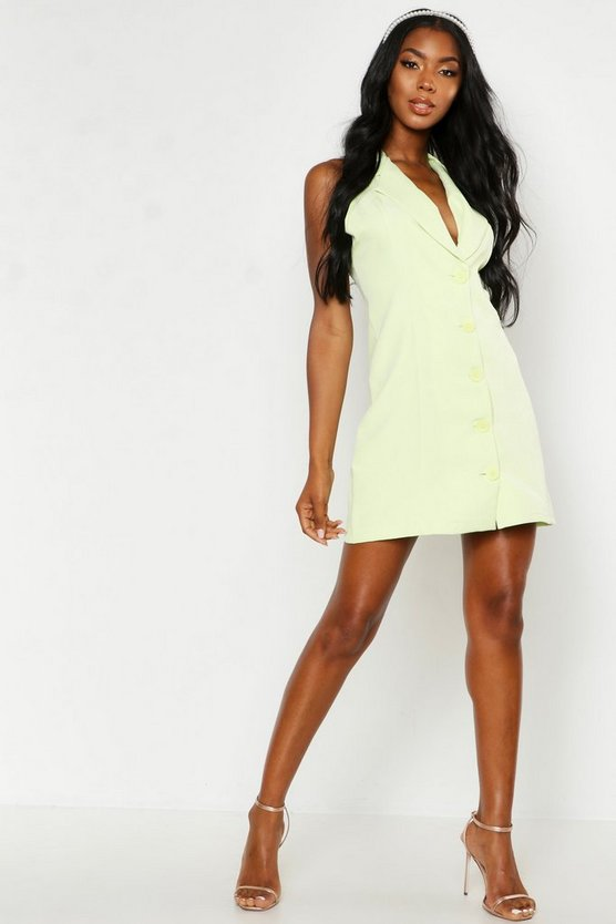 Lime Button Sleeveless Blazer Dress
