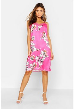 Dam Pink Floral Print Lace Trim Slip Dress