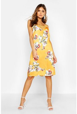 Womens Yellow Floral Print Lace Trim Slip Dress