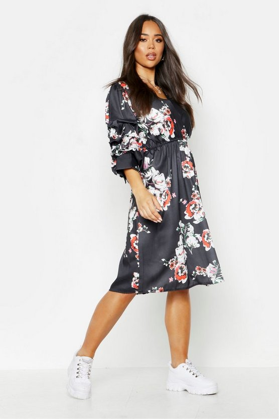 Womens Black Floral Print Puff Sleeve Belted Midi Skater Dress