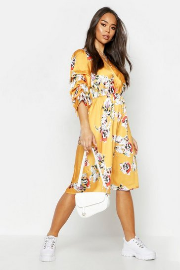 Womens Mustard Floral Print Puff Sleeve Belted Midi Skater Dress