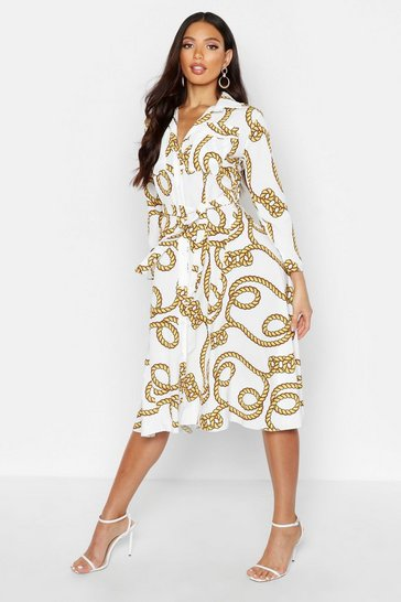Womens White Rope Print Belted Shirt Dress