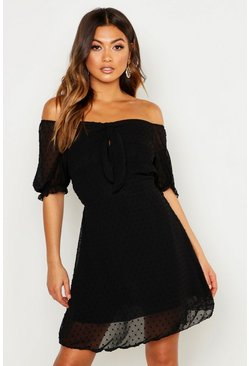Womens Black Dobby Spot Chiffon Open Back Skater Dress