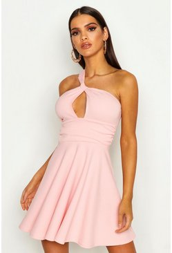Womens Peach One Shoulder Knot Detail Skater Dress