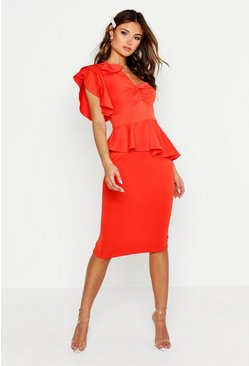 Orange One Shoulder Twist Front Peplum Midi Dress