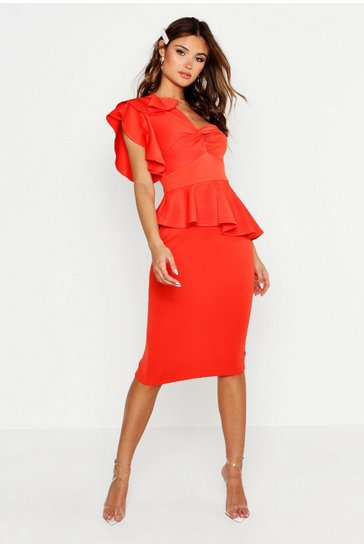 Womens Orange One Shoulder Twist Front Peplum Midi Dress
