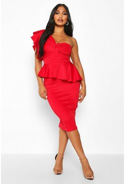 Red One Shoulder Twist Front Peplum Midi Dress
