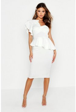 White One Shoulder Twist Front Peplum Midi Dress