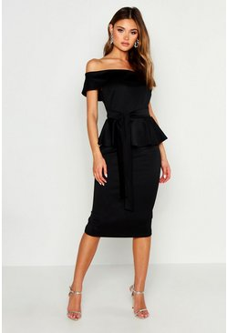 Womens Black Off The Shoulder Peplum Midi Dress