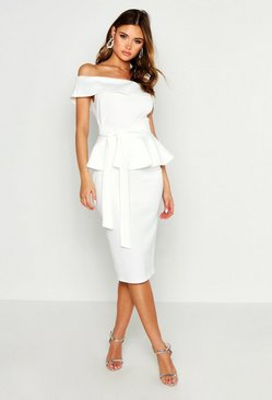 White Off The Shoulder Peplum Midi Dress