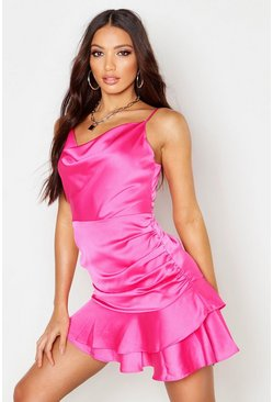 Fushia Satin Ruched Side Cowl Front Mini Dress
