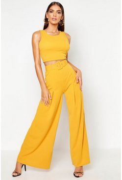 Womens Mustard Wide Leg Self Belt Trouser