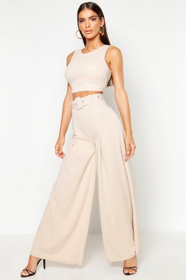 Stone Wide Leg Self Belt Trouser