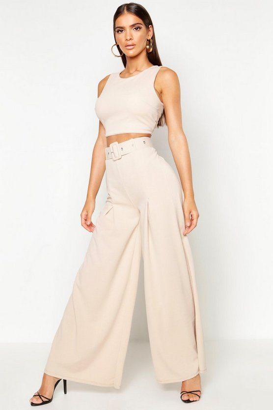 Womens Stone Wide Leg Self Belt Trouser