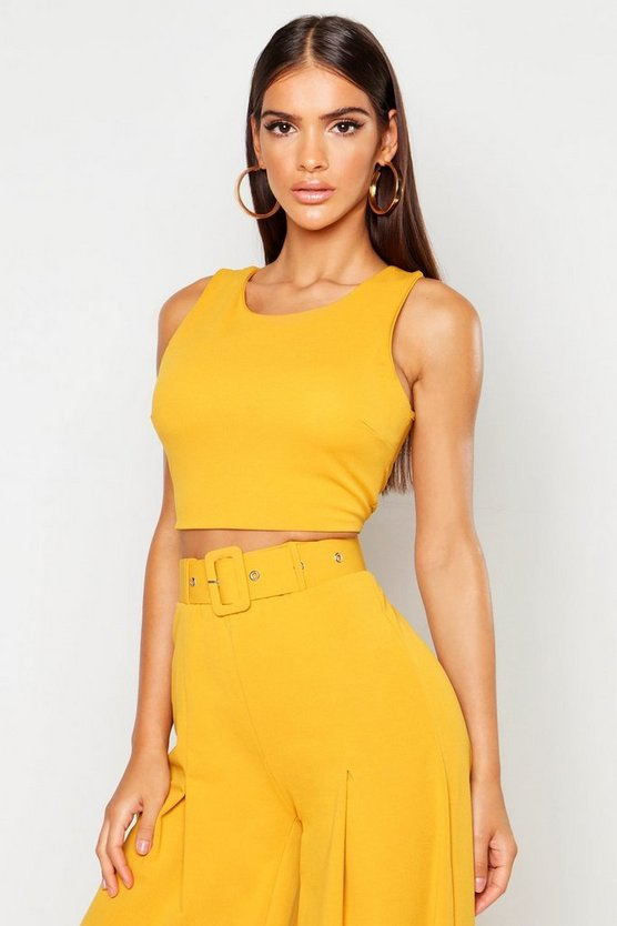 Womens Mustard Crepe Zip Back Cropped Top