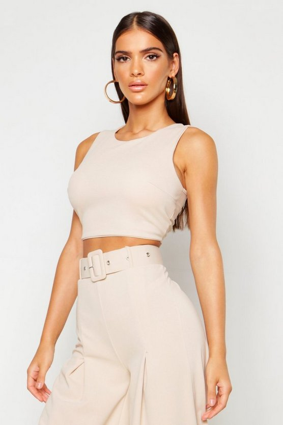 Womens Stone Crepe Zip Back Cropped Top