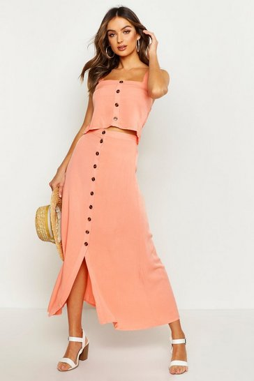 Womens Peach Button Front Midi Skirt