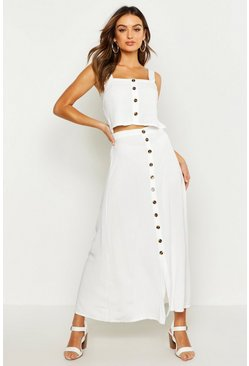 White Button Front Midi Skirt