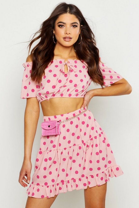 Womens Pink Polka Dot Bardot Top & Ruffle Mini Skirt Co-Ord