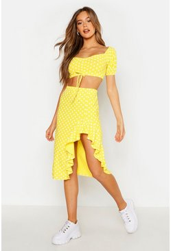 Yellow Polka Dot Ruched Top & Ruffle Midi Skirt Co-Ord