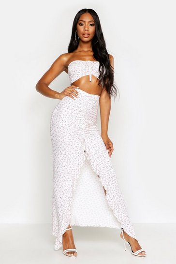 Womens White Ditsy Floral Ruched Bardot & Maxi Skirt Co-Ord