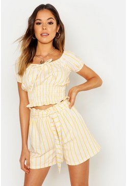 Womens Yellow Linen Stripe Shorts
