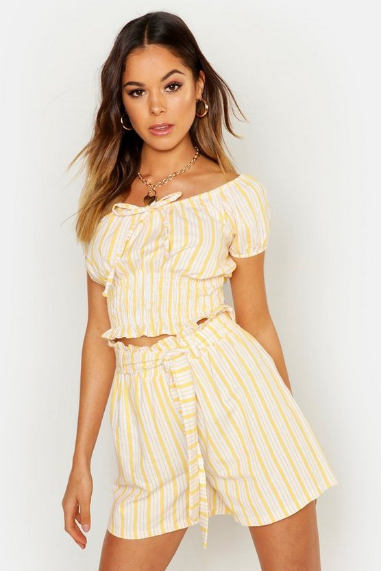Linen Stripe Puff Sleeve Shirred Top by Boohoo