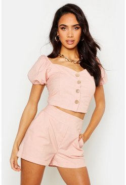 Womens Pink Button Through Linen Puff Sleeve Top