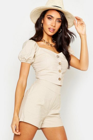 Womens Stone Button Through Linen Puff Sleeve Top