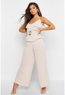 Womens Stone Wide Leg Pleated Trouser