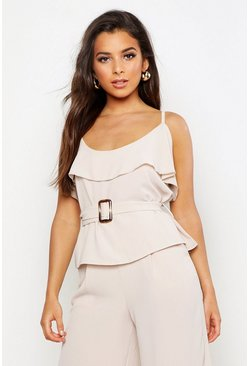 Womens Stone Belted Ruffle Detail Cami