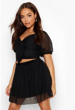Womens Black Dobby Mesh Skater Skirt