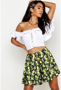 Womens Black Lemon Print Full Flippy Shorts