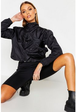 Womens Black Cropped Windbreaker With Detachable Bag
