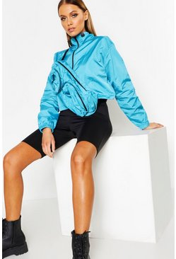 Womens Blue Cropped Windbreaker With Detachable Bag