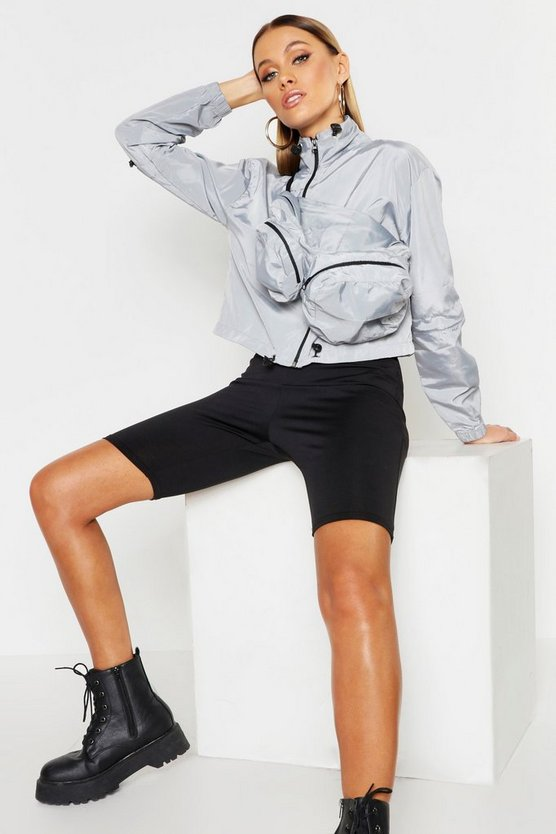 Womens Grey Cropped Windbreaker With Detachable Bag